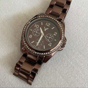 Brown Metallic American Eagle Rhinestone Watch